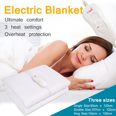 CHIA Electric Heated Blanket Winter Beddings Single Double King Size • 15.99£