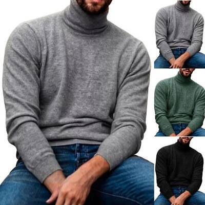 Mens Knitted Turtle Neck Jumper Casual Winter Warm Sweater Pullover Knitwear UK • 10.44£