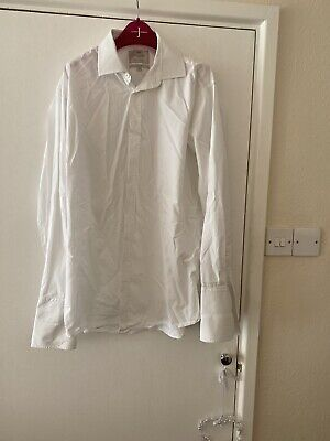Hawes & Curtis White Double Cuff Shirt - Collar 17 St James Slim Fit • 3£