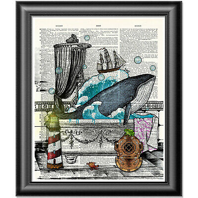Blue Whale Art Print On Dictionary Book Page Wall Art Bathroom Decor Picture • 5.99£