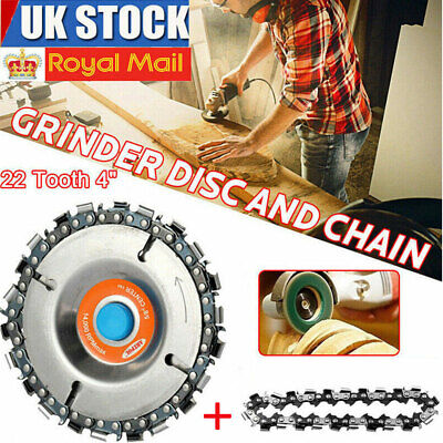 4'' Angle Grinder Disc + 2 PCS 22 Tooth Chain Saw For Wood Carving Plastic Tool • 9.98£