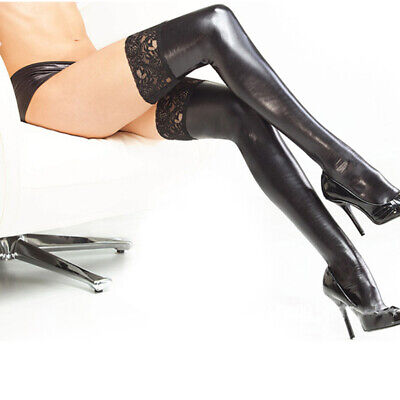 Ladies Women PVC Stockings Hold Up Wet Look Faux Leather Stockings Black Socks • 5.75£