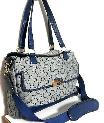 AU75 • Buy Oroton Large And Roomy Tote Bag, Logo Canvas/leather, Dark Blue