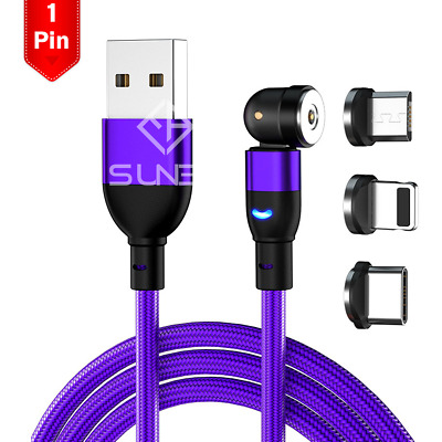 AU4.95 • Buy Magnetic Cable Right Angle Micro USB/Type C Charging Cord For IPhone 1M 2M 3IN1