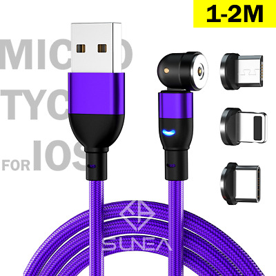 AU8.95 • Buy Magnetic Cable Right Angle Micro USB/Type C/IP Charging Cord For IPhone 2M 3IN1