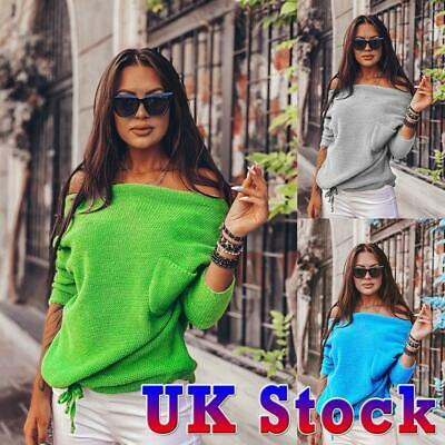 Womens Off The Shoulder Jumper Ladies Loose Casual Sweater Top Shirt Blouse Size • 12.19£