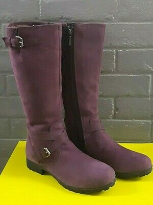 Hotter Belle Ladies Knee High Boots - Plum Suede - Size 6½ - Brand New RRP £139 • 79.99£