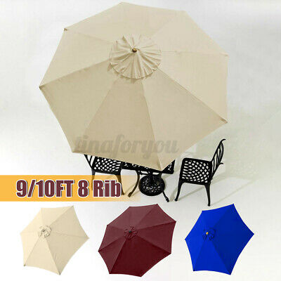 9/10ft Garden Parasol Patio Umbrella Cafe Sun Shade Canopy Replacement Cover • 35.89£