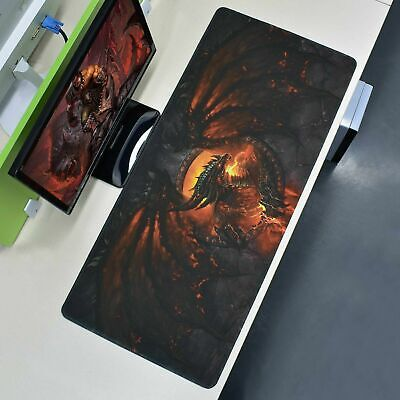Extra Large XXL Gaming Mouse Pad Fire Dragon Desk Mat Computer Keyboard 90x40cm • 7.99£
