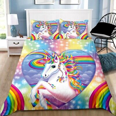 AU29.99 • Buy Quilt Duvet Doona Cover + Pillowcase Bedding Set - Heart Unicorn
