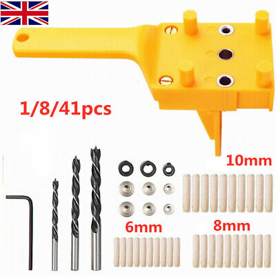 Handheld Woodworking Guide Wood Dowel Drilling Hole Saw Doweling Jig Drill Kits • 7.99£