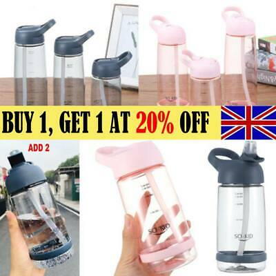 Water Bottle With Straw Plastic BPA Free Leakproof Sports Drinks Mugs Durable AA • 4.79£