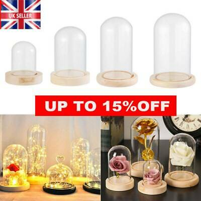 £11.03 • Buy Glass Dome Display Bell Jar Cloche On Wooden Base Table Decorative 6 Sizes~UK