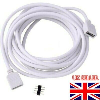 5M 4 Pin Wire Extension Connector Cable Cord For 3528 5050 LED RGB Strip UK • 2.59£