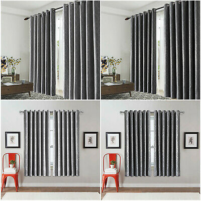Grey Thermal Blackout Curtains Pair Ready Made Eyelet Ring Top Kids Boys Girls  • 19.99£
