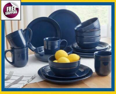 $79.70 • Buy Set Dinnerware 16 Pcs 32 Pc Dishes Plate Cup Mug Modern Classic Vintage Blue New