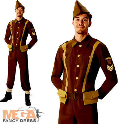 Soldier Mens Fancy Dress British History 40s Army Officer Uniform Adult Costume • 24.99£