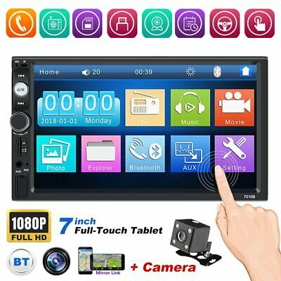 Bluetooth Car Radio Stereo 7 Inch Double 2DIN FM USB/MP5 Player Touch Screen AUX • 35.59£