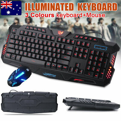 AU30.99 • Buy Gaming Keyboard And Mouse Combo Bundle Set LED Wired USB For PC Laptop Xbox