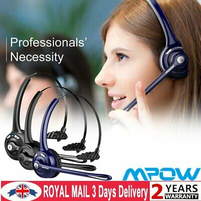 Mpow Car Trucker Wireless Bluetooth Headset Headphones With Noise Cancelling Mic • 22.89£