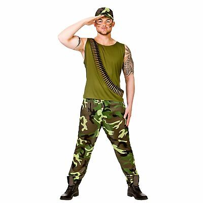 Army Guy Soldier Military Sergeant Marine Adults Mens Fancy Dress Costume • 14.89£