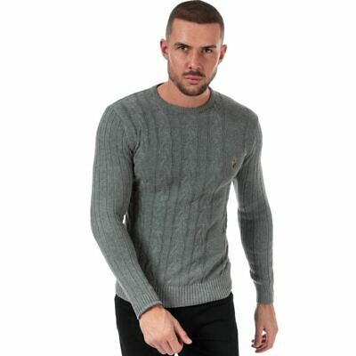 Men's Luke 1977 Morden Crew Neck Cotton Cable Knit Jumper In Grey • 38.94£
