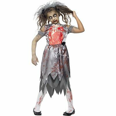 Halloween Corpse Zombie Bloody Bride Horror Kids Girls Fancy Dress Costume • 13.09£