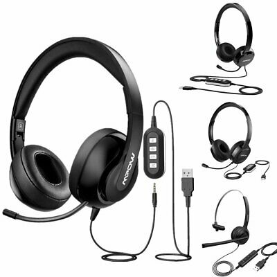 Mpow USB 3.5mm Wired Computer Headset Headphones With MIC For Call Center PC • 17.89£
