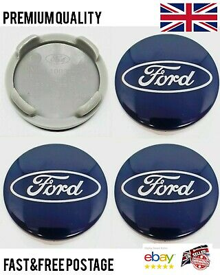 SET Of 4  BLUE 54mm Alloy Wheel Centre Caps For FORD Focus Mondeo Fiesta Galax • 7.99£