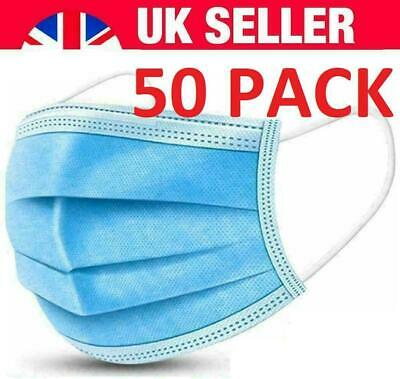 50 Disposable Face Masks 3 Ply Medical Surgical Mask Mouth Cover Uk • 3.95£
