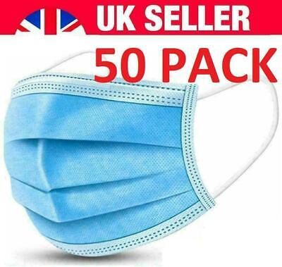 DISPOSABLE FACE MASK SURGICAL MASKS 3 PLY MEDICAL MOUTH COVER UK [50-Pack] • 4.99£