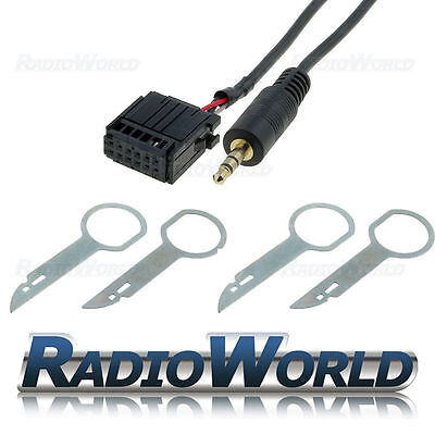 Ford Focus Mondeo Fiesta 6000CD Aux In Adapter Cable IPod MP3 Lead+ Removal Keys • 5.95£