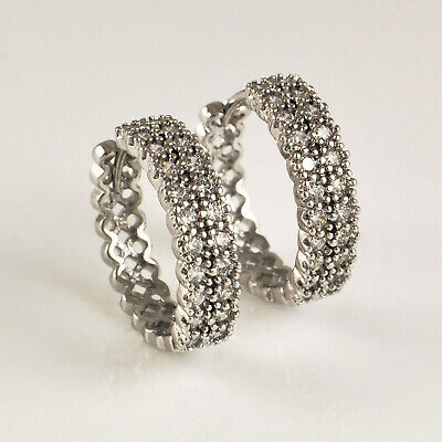 925 Sterling Silver Filled Clear CZ Crystal Half Band Huggie Hoop Earrings UK • 6.99£