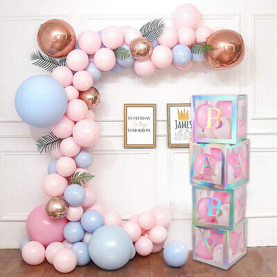 4Pc Rainbow Box Baby Shower Party Decoration Letter DIY Balloon Stand Baby BOX • 10.99£