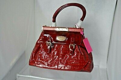 Claudia Canova Womens Red Patent Faux Leather Handbag Shoulder Bag (89481) • 20£