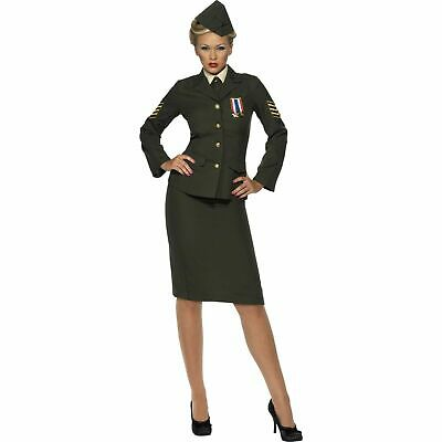 WW2 Wartime Female Officer Suit Army Uniform Ladies Fancy Dress Costume • 41.49£