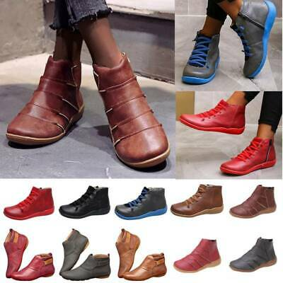 Women Faux Leather Ankle Boots Ladies Arch Support Comfy Flat Booties Shoes Size • 14.19£