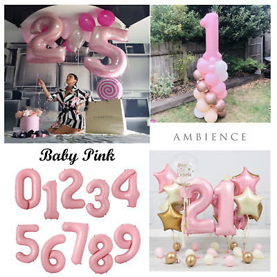 £2.79 • Buy 40 Inch Baby Pink Number Balloon Air Helium Large Foil Birthday Party 0123456789