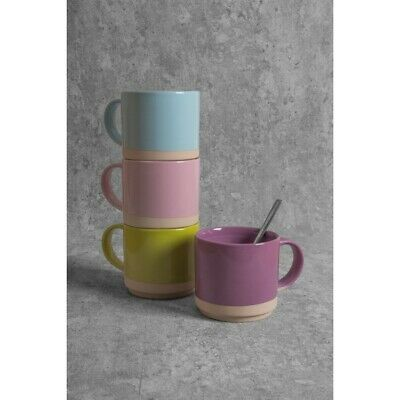 £11.95 • Buy Set Of 4 Stackable Stoneware Glazed Assorted Colors Mugs Coffee Tea Cups 350ml
