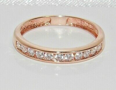 9ct Rose Gold On Silver 0.25ct Diamond Eternity Ring - ALL SIZES AVAILABLE • 25£