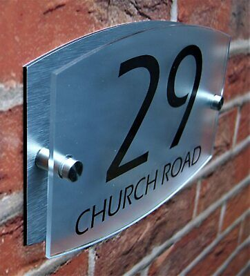 Dual Layer Personalised Door Number House Sign Wall Street Name Plaque Acrylic • 6.99£