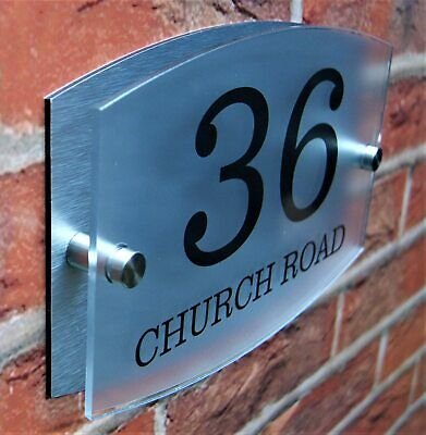 Stylish Dual Layer Door Number House Sign Wall Street Name Plaque Acrylic • 6.99£