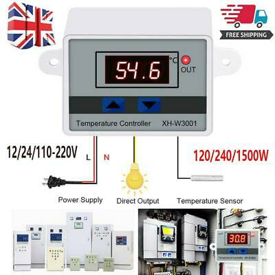 12/24V Digital LED Temperature Controller Switch Probe 10A Thermostat Control • 4.99£