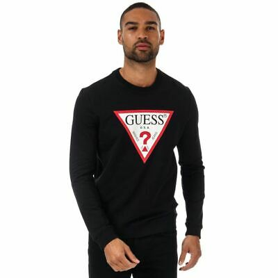 Men's Guess Audley Clear Stretch Crew Neck Slim Fit Sweatshirt In Black • 25.94£