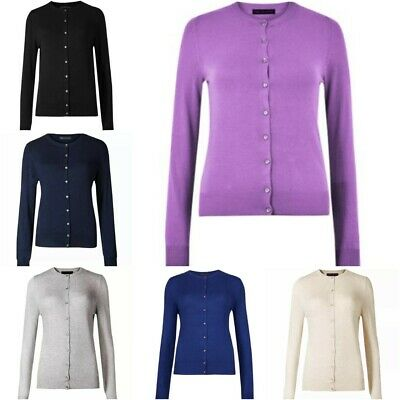 M&S Women Cardigan Ladies Round Neck Button Long Sleeve Top Soft Knit (BR172) • 14.99£