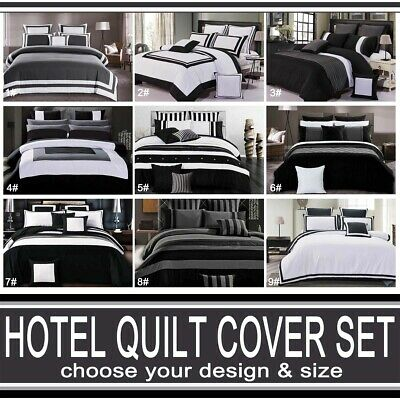 AU65 • Buy Hotel Trim Striped Quilt Cover Black White Grey Doona Cover Set All Sizes/Option