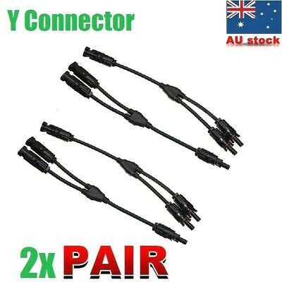 AU22 • Buy 2 Pairs Solar Panel Connectors Y Branch Plug Electrical Adapter Wire Coupler