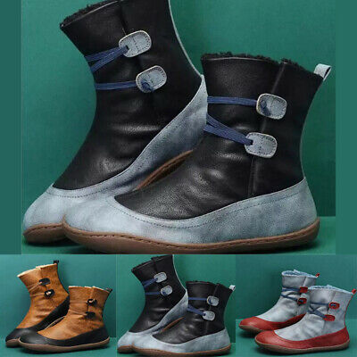 Women Winter Arch Support Ankle Boots Vintage PU Leather Flat-Heel Shoes Casual • 16.21£