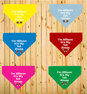 1st First Christmas Dog Bandana Personalised Any Name New Pup 6 Colours 3 Sizes  • 5.99£