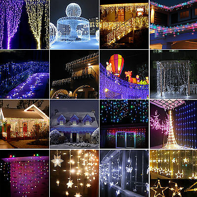 Christmas 96-300 LED Icicle Hanging Curtain Fairy String Lights Outdoor Decor • 12.82£